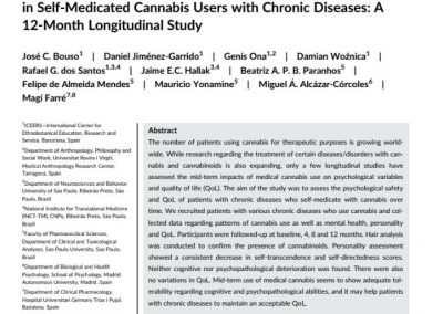 Quality of Life, Mental Health, Personality and Patterns of Use in Self-Medicated Cannabis Users with Chronic Diseases: A 12-Month Longitudinal Study