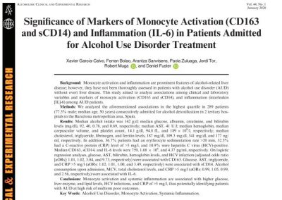 Significance of Markers of Monocyte Activation (CD163 and sCD14) and Inflammation (IL-6) in Patients Admitted for Alcohol Use Disorder Treatment
